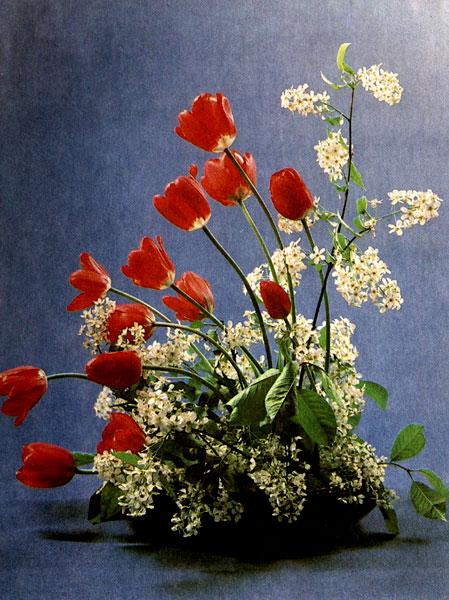 «Цветение весны» Тюльпаны, веточки черемухи на держателях (наколка, волока) в керамическом блюде