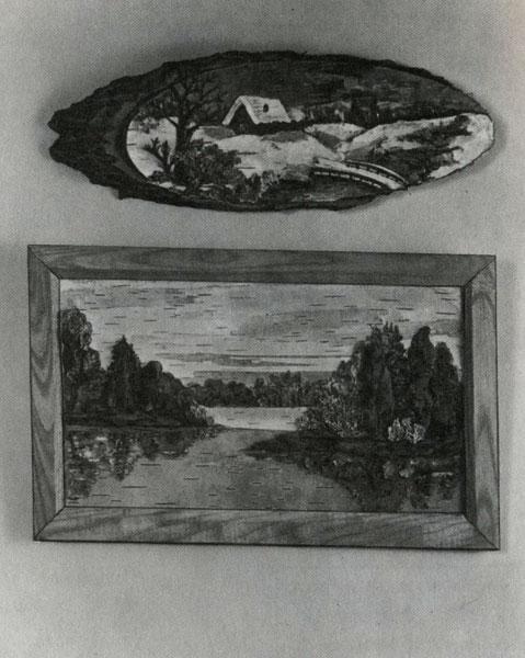 Картины из бересты «Зима» и «У озера» (автор Е. И. Попова)